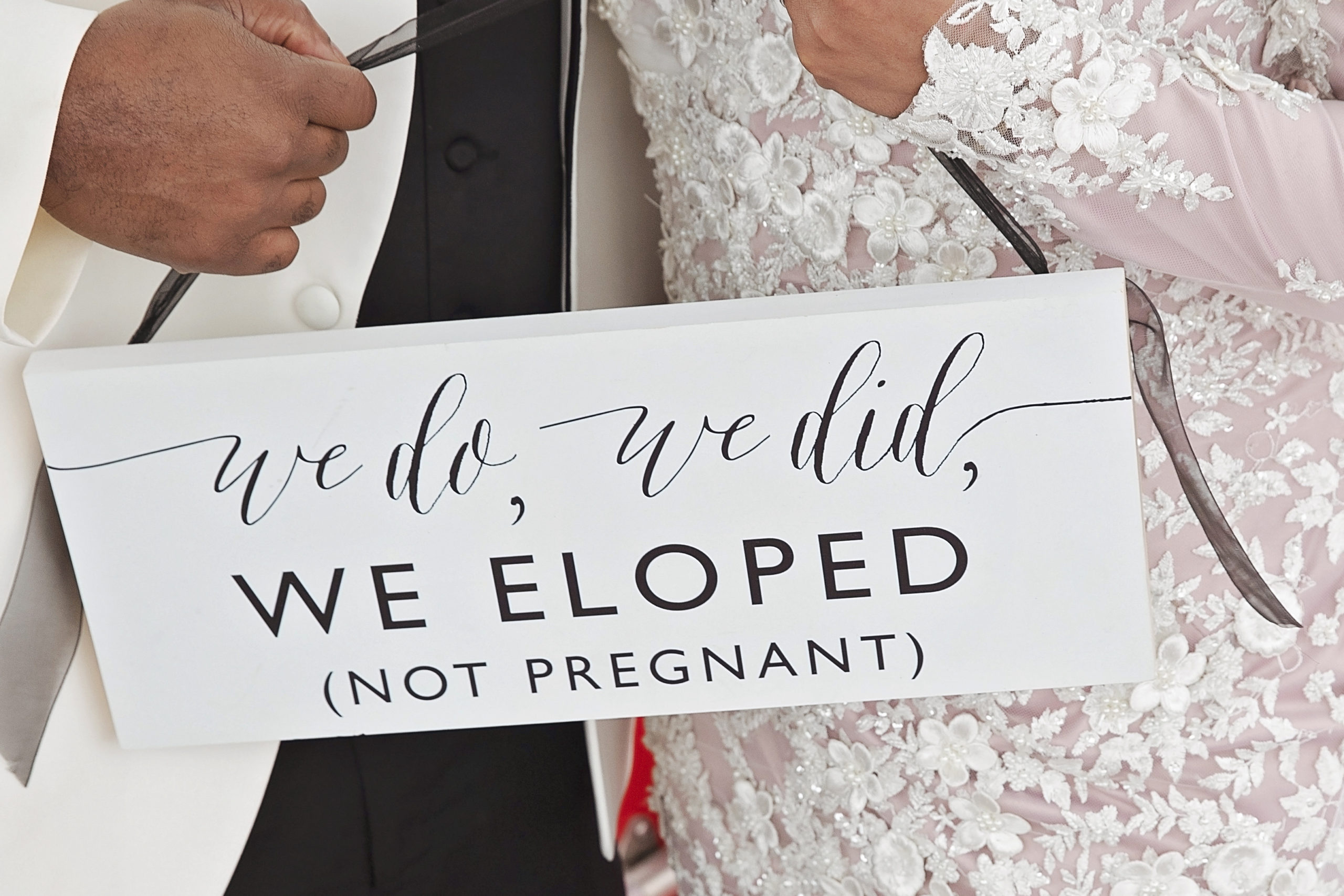 Whistler Elopements Bride and Groom married sign - The Whistler Elopement Company